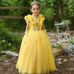 Wholesale 2018 Boutique Christmas Flower girl dress Maxi dresses with Butterfly for Birthday party Princess Costume Performance Pink Yellow Free DHL