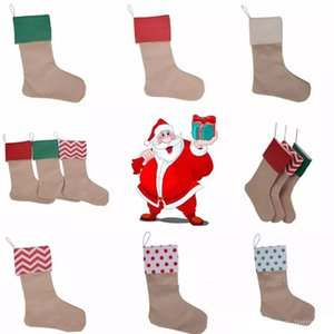 Wholesale Christmas Canvas Stocking Gift Bag Stocking cm Christmas Tree Decoration Socks Xmas Stockings Styles christmas gifts kids toys