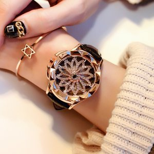 2017 Women Rhinestone Watches Lady Rotation Dress Watch brand Real Leather Band Big Dial Bracelet Wristwatch Crystal Watch Y18102310