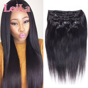 Malaysian Straight Hair Clip In Hair Extensions Unprocessed Human Hair Weaves 7 Pieces set Full Head 70-120g
