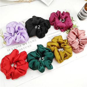 7 Color Women Girls Pure Color Cloth Elastic Ring Hair Ties Accessories Ponytail Holder Hairbands Rubber Band Scrunchies Sweat Satin Color