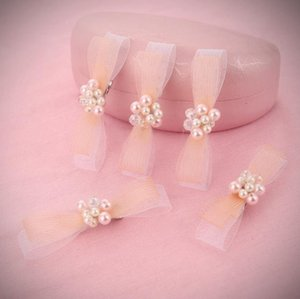 Wholesale Korean pearl bow tie hairpin bridal crystal headwear white wedding dress accessories bride handwork headwear