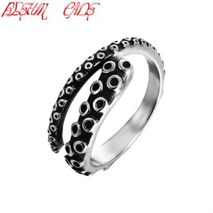 Wholesale Punk Stainless Steel Gothic Deep Sea Squid Octopus Ring Fashion Women Men Jewelry