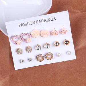 Wholesale New Retro Punk Flower Pearl Earrings Rhinestone Earrings Jewelry Earrings Set Pairs Ear Studs Girl Christmas Day Gift Free DHL H205F