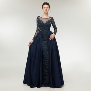 Navy blue evening gowns mermaid long sleeve luxury fashion woman formal evening prom dresses arabic gowns