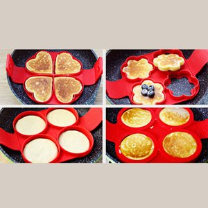 Nonstick Pancake Egg Ring Maker Silicone Kitchen Pancake Mold Egg Cooking Tool With 4 Holes