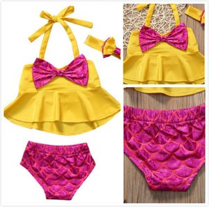 Summer Beach Baby Girls Swimsuit Yellow Hanging neck Big Bow Tie Tops+ Pink Mermaid Briefs Swimsuit Fashion Children Clothing 0-4T