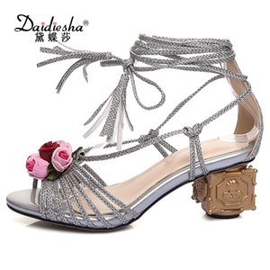 wholesale Italian Women Retro Flower Cross-tied High Heel Shoes Fancy Strange Style Heel Sandals Luxurious Party Wedding Pumps