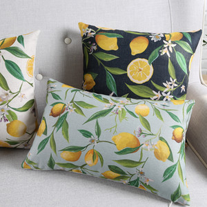 Wholesale Fruit Lemon Cushion Covers Green Plants Lemon Tree Leaves Flowers Cushion Cover Sofa Chair Decorative Linen Cotton Pillow Case