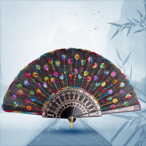 Wholesale Folding Hand Fan Fabric Floral Wedding Dance Favor Pocket Fan Chinese Fans Classic Gift