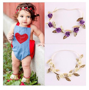 Wholesale Infant Toddler Kids Girls Rose Flower Headband Headwear Hair Accessories Cute Floral White Blue purple headband Colors to chosse