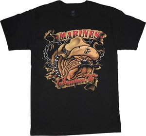 Wholesale USMC Bulldog t shirt for men US Marines tee semper fi decal marine corps gear Funny Short Sleeve Cotton T Shirts Ment Shirt Summer Style