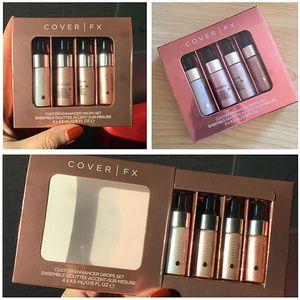 Dropshipping face highlighter powder 4pcs set makeup Glow COVER FX Custom Enhancer drops 4.5ml liquid Highlighters Cosmetics free shipping