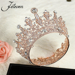 Wholesale Romantic Gold Queen Tiara Crown Full Round Crystal Rhinestone Princess Pageant Prom Headpieces Bridal Wedding Hair Jewelry S926