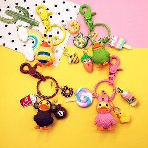 Wholesale Cute Cartoon Small Yellow Duck Doll Keychain Keyring Pendant Fit Bag Charms Car Accessories for Women Girl Birthday Gift
