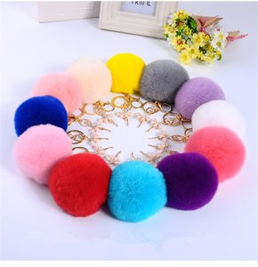 Wholesale 2019 Fur Pom Pom Keychains Fake Rabbit fur ball key chain porte clef pompom de fourrure fluffy Bag Charms bunny keychain Keyring