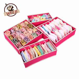 Wholesale Foldable Beige Rose Boxes For Underwear Bra Socks Tie Lingerie Organizer Divider Wardrobe TIdy Caixa Desktop Storage Box Supply