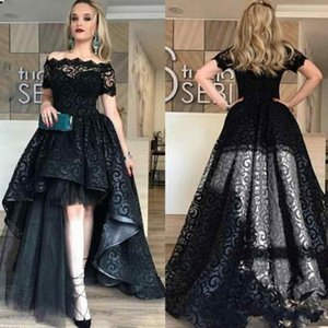 Wholesale Black Full Lace High Low Prom Dresses with Sleeves Off Shoulder Evening Gowns Short Front Long Back Party Gown Dress Made