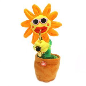 Wholesale Electric Plush Toys Sing Dance Enchanting Flower Sunflower Handmade Luminescence Sax Plant Modelling Wear Sunglasses Novelty Items cj V