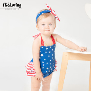 Wholesale girl aprons for sale - Group buy 6Designs Cute Baby Girls Cothes Sets Suits Rompers and Headbands Independence Day T Baby Apron Belly Guard Brief Sling Rompers Pants
