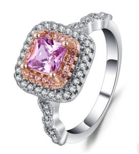 Wholesale Pink diamond gold plated Simulation diamond ring princess ring ball ring