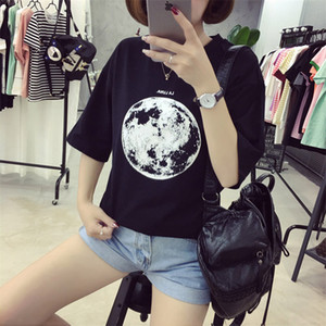 Wholesale Women Chic Summer New Personality Planet Moon Printed Loose T Shirts Women Slim Leisure Short Sleeve White T Shirt Female Top M Xxl