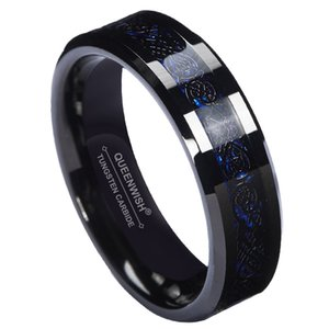 Wholesale QUEENWISH mm Blue Black Silvering Celtic Dragon Tungsten Carbide Ring Wedding Anniversary Band men women Jewelry