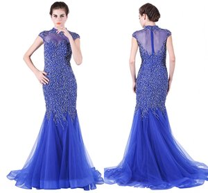 Wholesale 2019 New Fashion Crystal Beading Evening Dresses Blue Tail Heavy Manual Nail Bead Long Dance Party Dresses HY081
