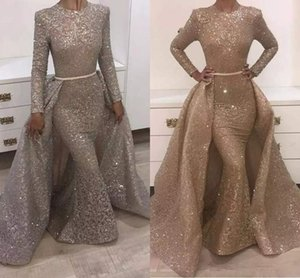2018 Mermaid Evening Dresses Jewel Long Sleeve Unique Design Evening Gowns Lace With Sequins Beads Crystals Formal Evening Dresses on Sale