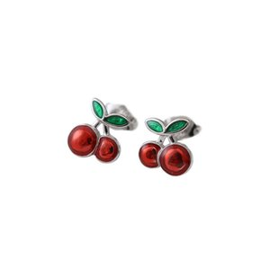 Red Enamel Cherry 925 Sterling Silver Stud Earrings