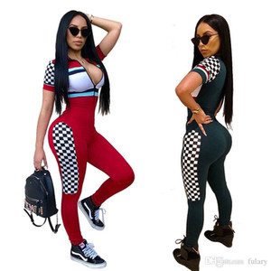 Wholesale Bodysuit Women New Tight Straps Jumpsuit Overalls Fashion printing stitching grid sports Fitness one piece pants summer bodycon playsuit