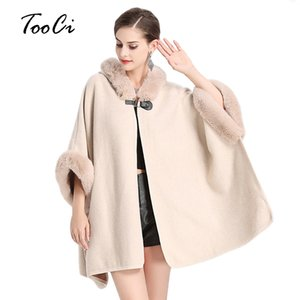 Wholesale Faux Fur Coat Women Winter Fashion Beige Poncho And Capes Women Fake Fur Hooded Casual Cloak Long Sweater Knitted Cardigan
