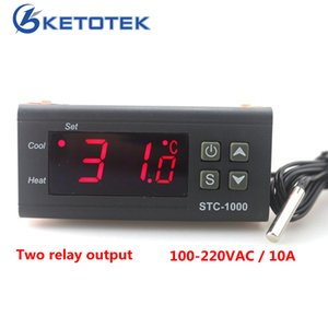 Wholesale Two Relay Output LED Digital Temperature Controller Thermostat Incubator STC V V V V A with Heater and Cooler