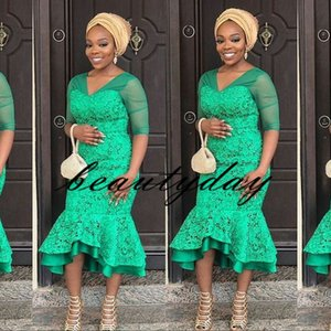 Wholesale Aso Ebi Style Prom Dresses Green for Women Party Wear Backless Abiye Dubai Caftan Evening Gowns Half Sleeve Tea length Plus Size