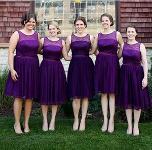 Wholesale 2018 Short Grape Chiffon Bridesmaid Dresses Sleeveless Knee-Length Maid of the Honor Gowns Cheap Simple Evening Dresses