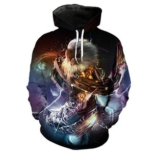 Wholesale Colorful Music Eagle Print Fashion Hooded Sweatshirt Purple Pullover YI2054