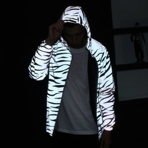 Wholesale Reflective zebra stripe popular casual double layer trench coat for men and women student couple coat youth jacket