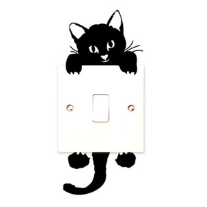 ingrosso arte murale carta da parati -Vendita calda Cute New Cat Wall Stickers Light Switch Decor Decalcomanie Arte Murale Baby Nursery Room Sticker PVC Wallpaper per soggiorno CA