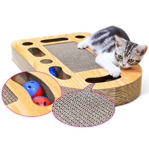 ingrosso graffi di gatto-Bullet With Ball Cat Scratchers Rotolo di carta ondulata Campana piccola Cat Scratch Board Strumento divertente Pet Supplies dk ff