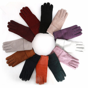 Outdoor sports High quality women fashion beautiful leather gloves wool gloves 100% pure wool fur gloves