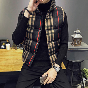 Wholesale Plaid Winter Jackets Mens Winter Thick Vest Mens Sleeveless Jackets Slim Fit Stand Collar Colete Masculino Waistcoat