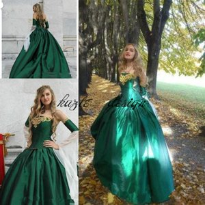 Wholesale vintage emerald green Gothic Victorian Ball Gown Wedding Dresses off shoulder bell sleeve lace upHalloween Cosplay Bridal Gowns