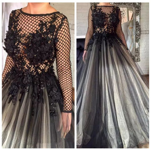 Wholesale 2019 Amazing Black D Floral Lace Appliques Formal Evening Dresses Pleated Nets Long Sleeve Ashi Studio Dubai Arabic Muslim Prom Party Gowns