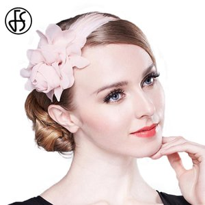 FS Fascinators For Women Elegant Pink Wedding Hat For Brides Girls Flower With Feather Pillbox Headband Cocktail Dress Hats