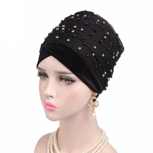 Women's Velvet Turban Headband Pearl Pleated Extra Long Head Wrap Hijab Tube Indian Headwrap Scarf Tie