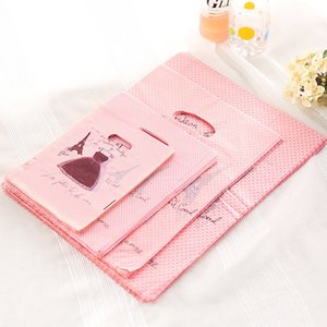 Wholesale 50pcs Dress Print Pink Plastic Bag 25x35cm Big Jewelry Boutique Gift Packaging Plastic Shopping Bags With Handle