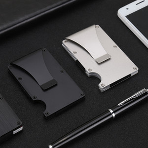 Wholesale Stainless Steel Metal Card Wallets Slim Minimalist Aluminum Alloy Card Holder Money Clip 24 Style X123