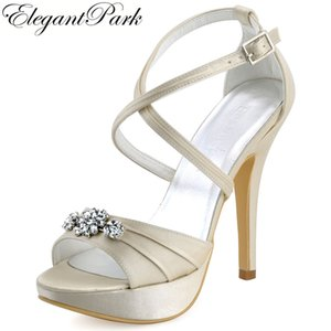 Wholesale Woman High Heel Platform Sandal Ivory Rhinestone Cross strap Satin Prom Pumps Women s Wedding Bridal Shoes Women Sandals EP2115