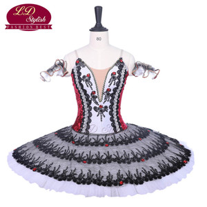 Wholesale New Arrival Black Red Professional Ballet Tutu Costumes Red Shoes Performance Ballet Apperal Women Dancewear Girls Dress