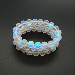 10mm Matte White Aura Quartz Bracelet,Gemstone Bracelet,Holographic Round Beads,Elastic Bracelet,Good Luck Bracelet